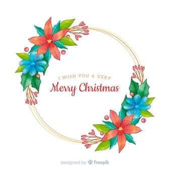 Flores con felices deseos navideños