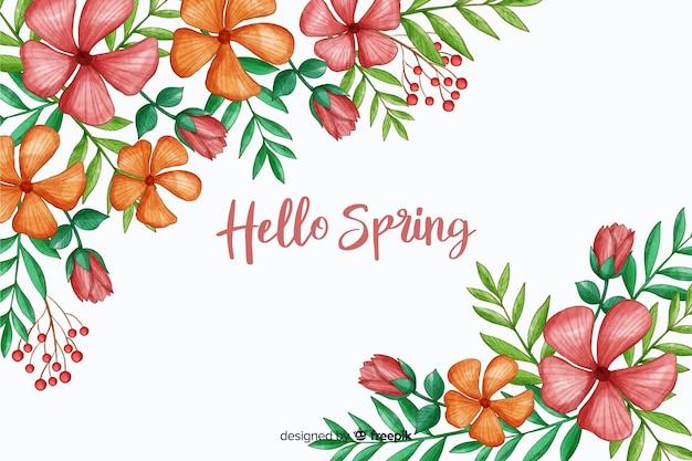Flores de flor con cita de saludo