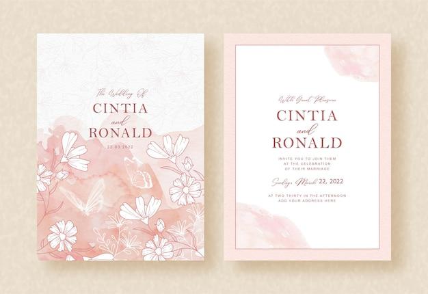 Flores de floración con acuarela rosa splash en invitación de boda