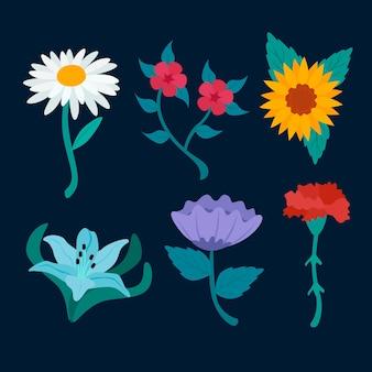 Flores florecientes de primavera aisladas sobre fondo azul oscuro