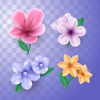 Flores florecientes de primavera con fondo transparente