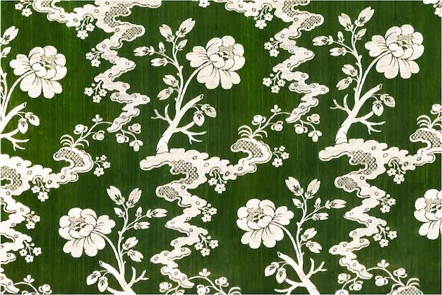 Flores florecientes vector patrón verde fondo estilo vintage