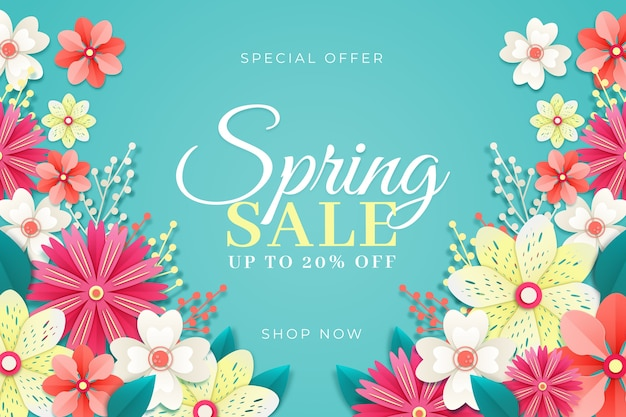 Flores florecientes venta de primavera en estilo de papel