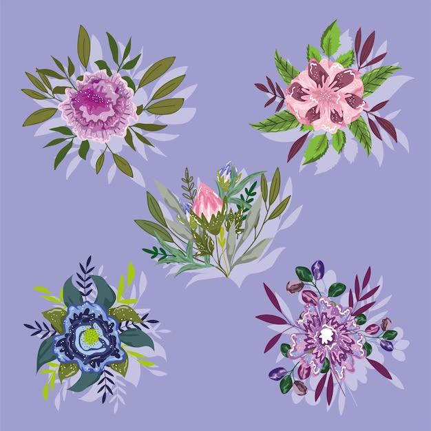 Flores, follaje, hojas, naturaleza, verdor, vegetación, decoración, iconos