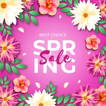 Flores y fondo violeta venta de primavera realista