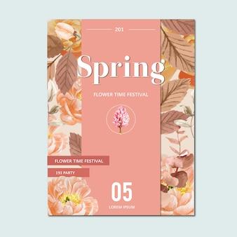 Flores frescas del cartel de la primavera, tarjeta de la decoración con el jardín colorido floral, boda, invitación