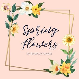 Flores frescas del marco de la guirnalda de la primavera, tarjeta de la decoración con el jardín colorido floral, boda, invitación
