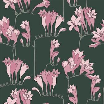 Flores de fresia. patrón floral sin fisuras.