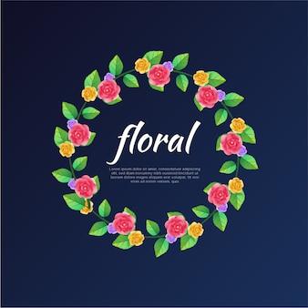 Flores de guirnalda de rosas coloridas vector plantilla de fondo