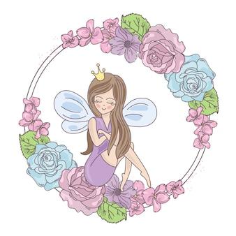 Flores de hadas impresión de ilustración vectorial de boda