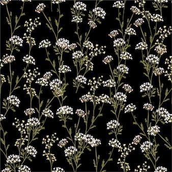 Flores hermosas y de moda de la vendimia del modelo inconsútil del prado, aisladas en color negro del verano. decoración floral botánica