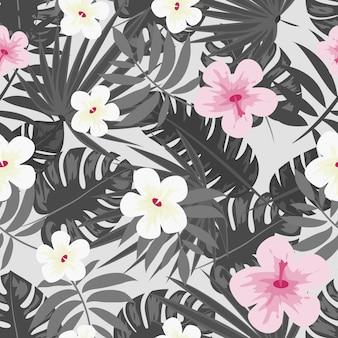 Flores de hibisco monstera deja estampado floral para tela vector patrón transparente