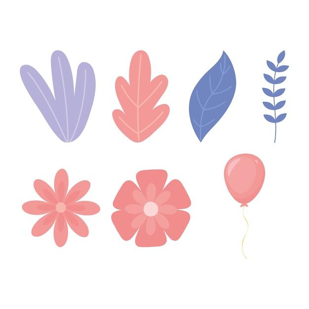 Flores hoja rama follaje vegetatin naturaleza iconos ilustración
