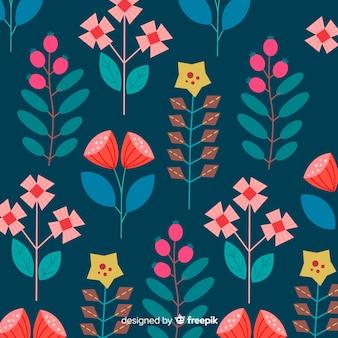 Flores y hojas abstractas dibujadas a mano