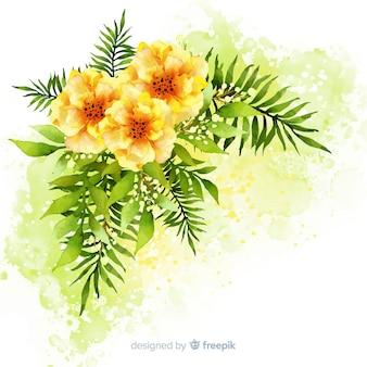 Flores y hojas de acuarela
