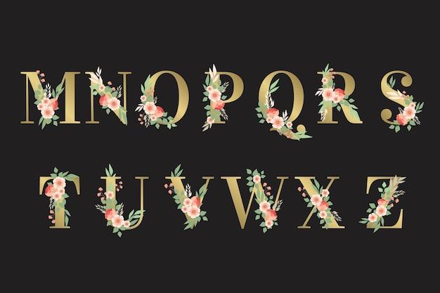 Flores y hojas en letras del alfabeto