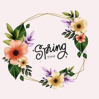 Flores y hojas marco floral de primavera acuarela