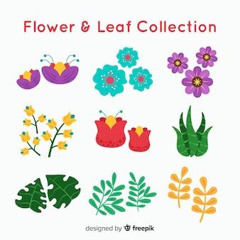 Flores y hojas planas