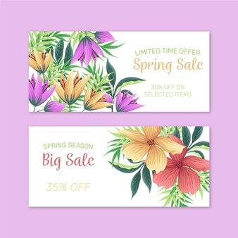 Flores y hojas de venta de primavera banner dibujado a mano