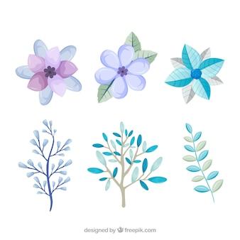Flores invernales de colores azul claro y lila