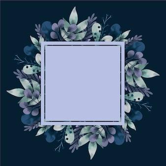 Flores de invierno con banner vacío dibujado a mano