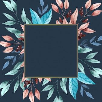 Flores de invierno con marco de banner vacío