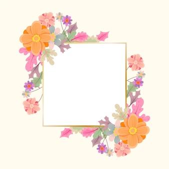 Flores de invierno con marco dorado