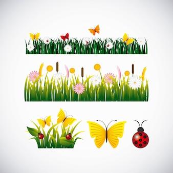 Flores de jardín y mariposas