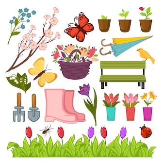 Flores de jardinería de primavera y conjunto de iconos de herramientas de plantación