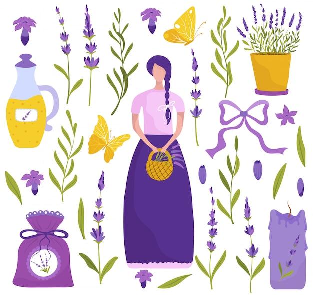 Flores de lavanda, conjunto de ilustración de iconos