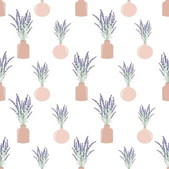 Flores de lavanda en macetas de patrones sin fisuras