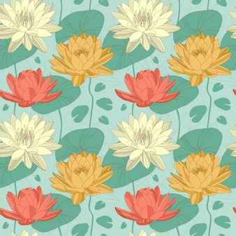Flores de loto en patrones sin fisuras