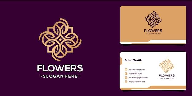 Flores lujoso diseño de logotipo monoline y plantilla de tarjeta de visita
