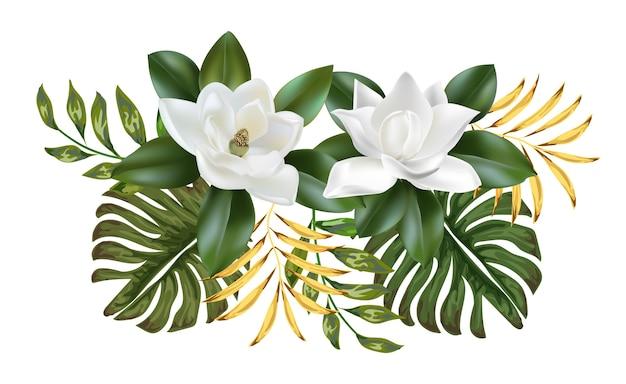 Flores de magnolia con hojas
