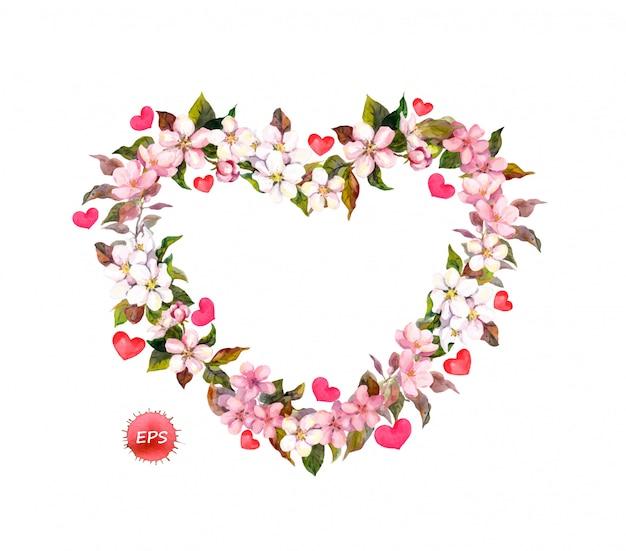 Flores de manzana, cereza, almendra con corazones rojos.