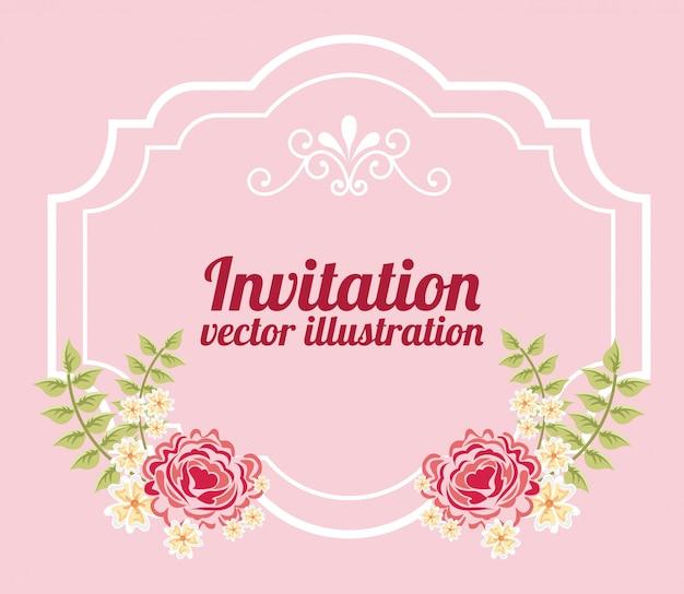 Flores con marco sobre plantilla de invitación rosa