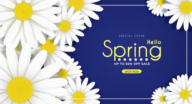 Las flores de la margarita florecen en la primavera estacional. y en venta promoción de descuento de compras. y fondo.
