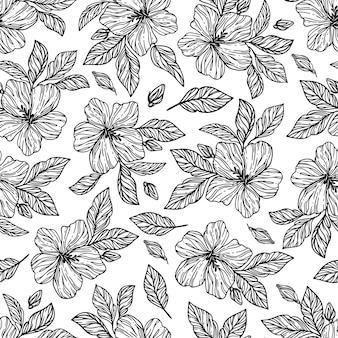 Flores monocromáticas hibisco con hojas boceto dibujado a mano