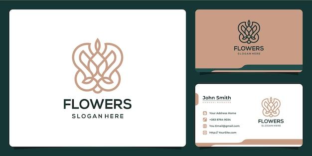 Flores monoline lujoso diseño de logotipo y tarjeta de visita.