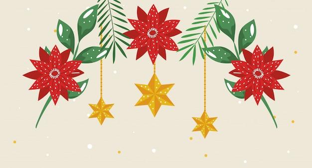 Flores de navidad con estrellas colgando
