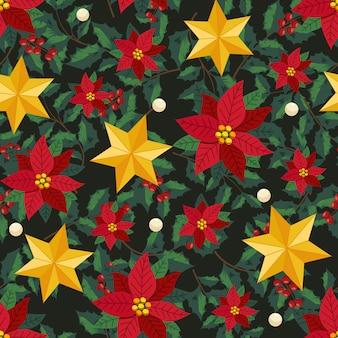 Flores navideñas y guirnalda decorativa estilo hiedra con rama y hojas, patrones sin fisuras
