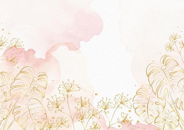 Flores de oro sobre fondo de acuarela rosa splash Vector Premium