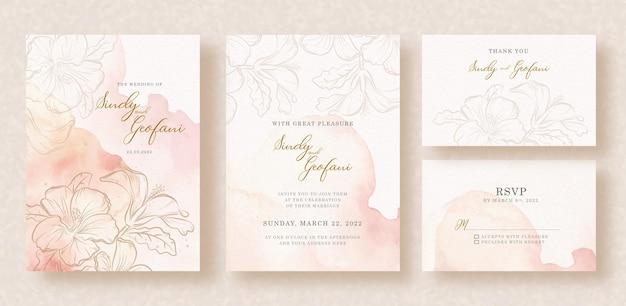 Flores de oro sobre fondo de salpicaduras acuarela de invitación de boda
