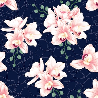 Flores de orquídea rosa de patrones sin fisuras sobre fondo azul oscuro abstracto.