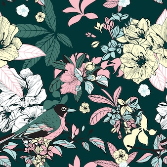 Flores y pájaros sin costuras.