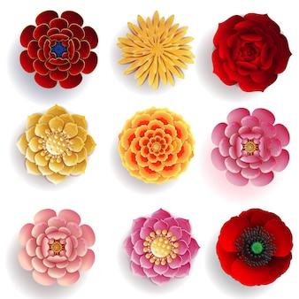 Flores de papel cortado con estilo artesanal