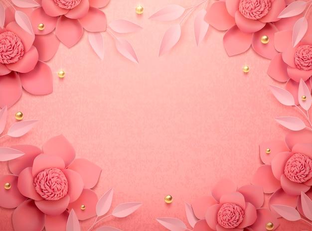 Flores de papel románticas y fondo de cuentas doradas en ilustración 3d