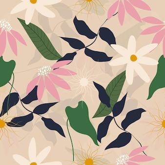 Flores pastel de patrones sin fisuras