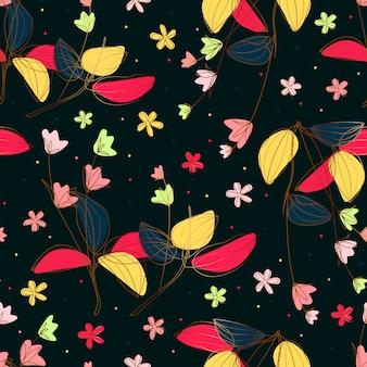 Flores con patrón transparente de línea dorada