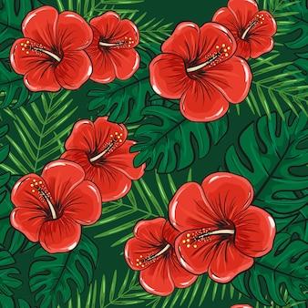 Flores de patrones sin fisuras de hibisco con hojas de palmeras tropicales.